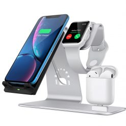3 i 1 10W Aluminium dock til Apple Watch, Iphone & Airpods - Silver