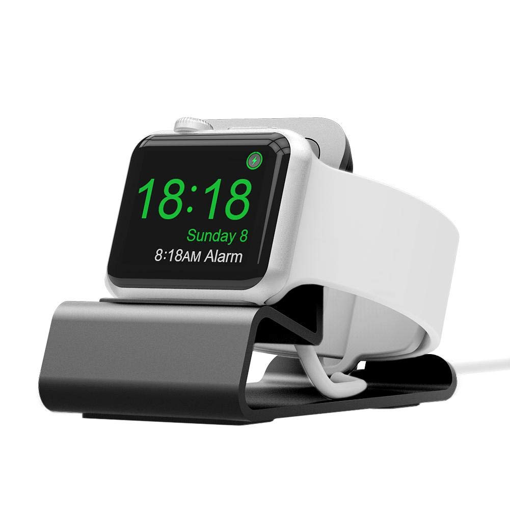 Mini Alu oplader holder til Apple watch - Sølv